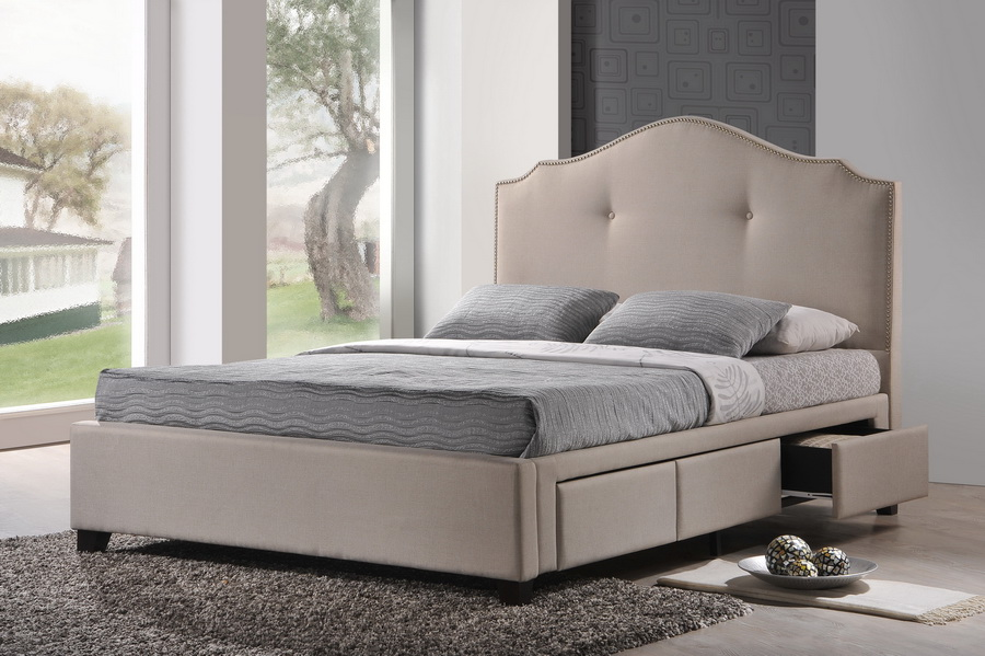 Armeena beige linen modern storage bed with upholstered for Upholstered bed with drawers