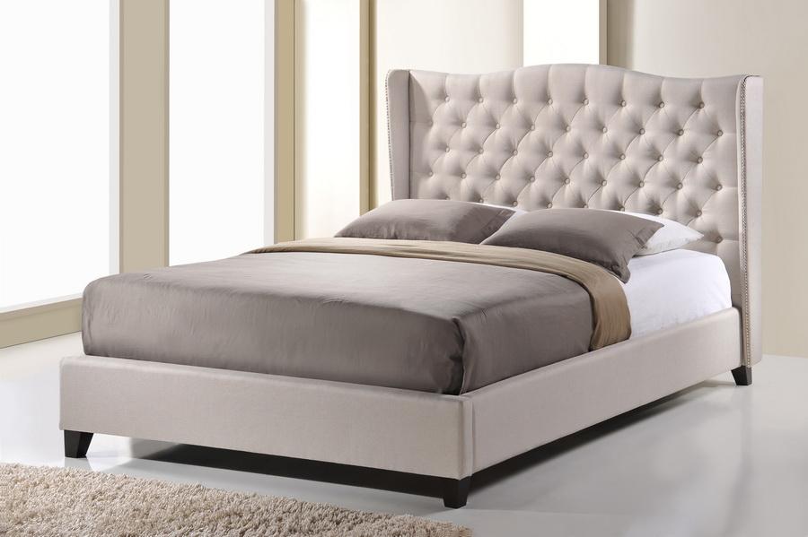 Baxton Studio Norwich Light Beige Linen Modern Platform Bed Queen Size Affordable Modern