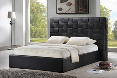 Baxton Studio Prenetta Black Modern Bed with Upholstered Headboard - Queen Size affordable modern furniture Chicago, Prenetta Black Modern Bed with Upholstered Headboard - Queen Size, Bedroom Furniture Chicago
