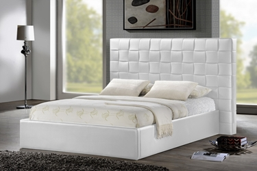Baxton Studio Prenetta White Modern Bed with Upholstered Headboard - Queen Size affordable modern furniture Chicago, Prenetta White Modern Bed with Upholstered Headboard - Queen Size, Bedroom Furniture Chicago