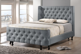 Baxton Studio Regina Wood Contemporary King-Size Bed Affordable modern furniture in Chicago, Regina Wood Contemporary King-Size Bed, Bedroom Furniture Chicago
