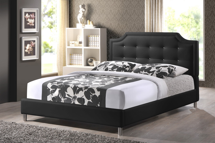 baxton studio carlotta black modern bed with upholstered headboard queen size bsobbt6376 black - Queen Size Bed And Frame