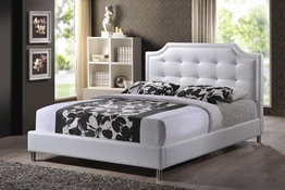 Baxton Studio Carlotta White Modern Bed with Upholstered Headboard - King Size affordable modern furniture in Chicago, Carlotta White Modern Bed with Upholstered Headboard - King Size,Bar Furniture Chicago