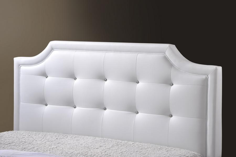 ... Baxton Studio Carlotta White Modern Bed with Upholstered Headboard -  Full Size - BSOBBT6376-White ... - Baxton Studio Carlotta White Modern Bed With Upholstered Headboard