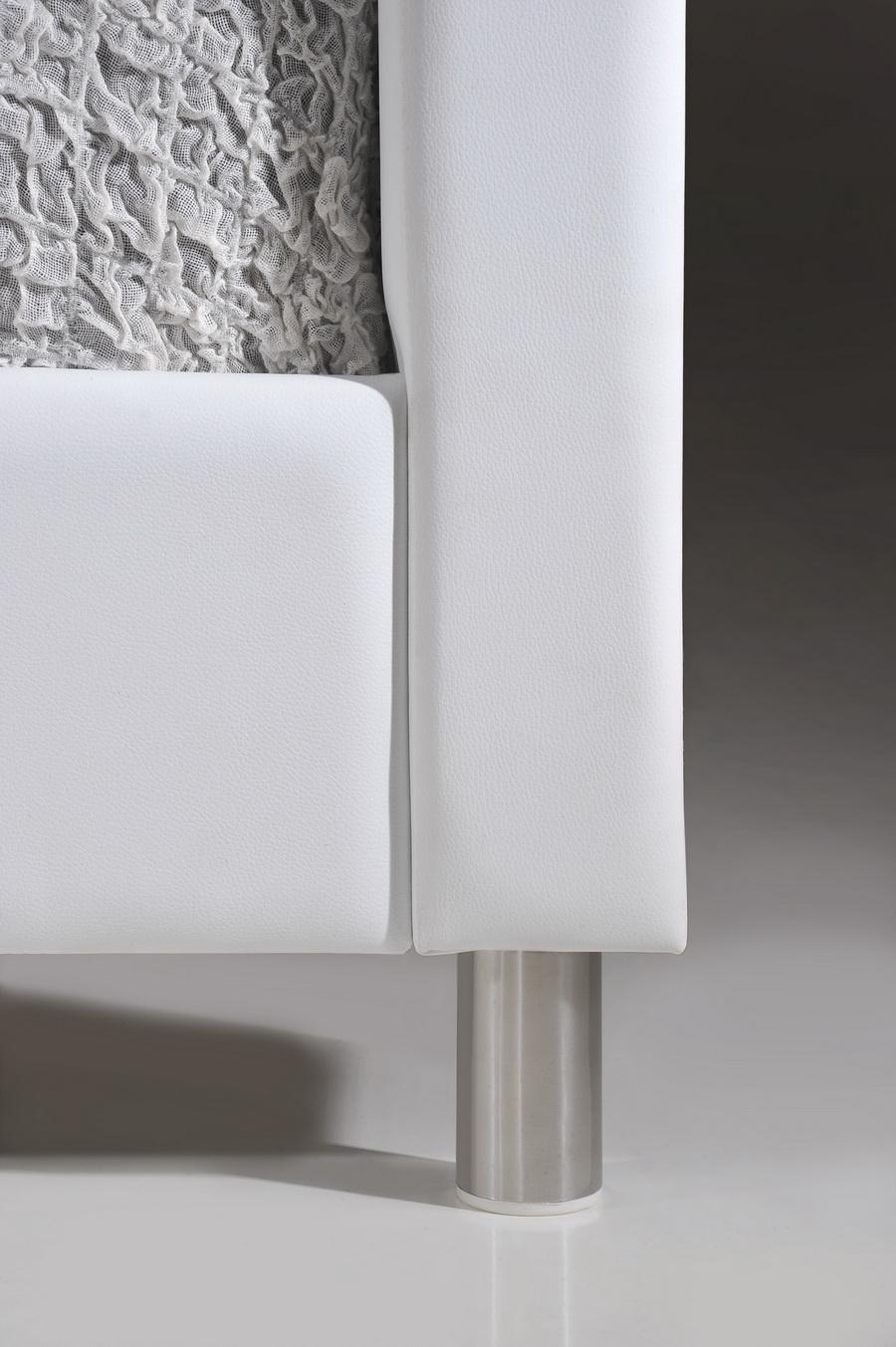 Baxton Studio Carlotta White Modern Bed with Upholstered Headboard