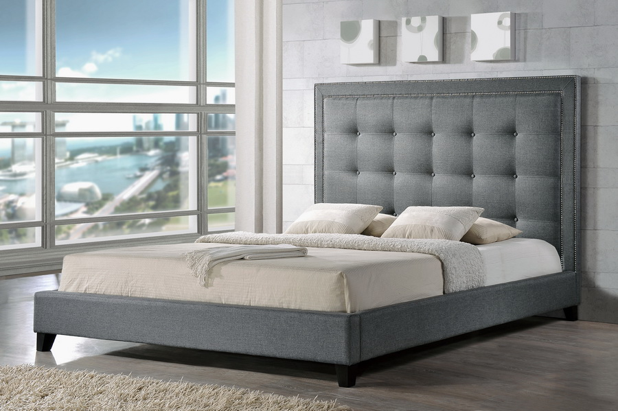 Baxton Studio Hirst Gray Platform Bed King Size
