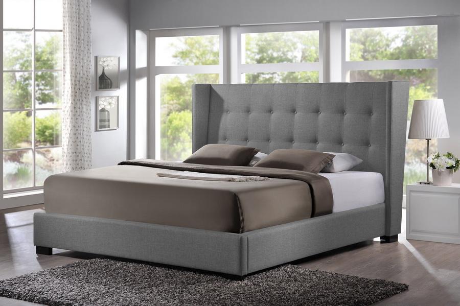 baxton studio favela gray linen modern bed with upholstered headboard queen size bsobbt6386