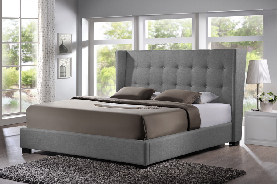 baxton studio favela gray linen modern bed with upholstered headboard queen size bsobbt6386 - Upholstered Queen Bed
