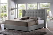 Baxton Studio Favela Gray Linen Modern Bed with Upholstered Headboard - King Size affordable modern furniture in Chicago, Baxton Studio Favela Gray Linen Modern Bed with Upholstered Headboard - King Size, Bedroom Furniture Chicago