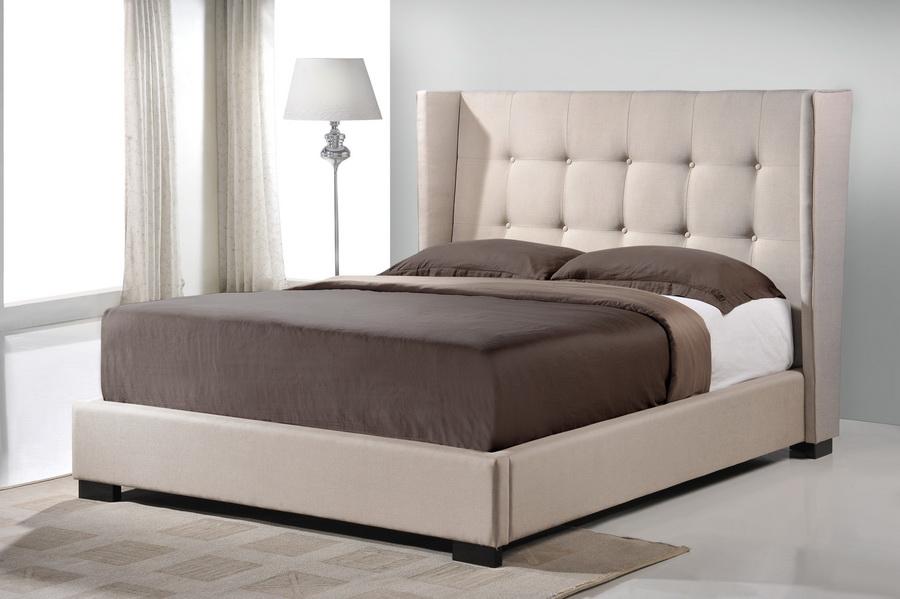 Baxton studio favela beige linen modern bed with upholstered headboard king size affordable for Light beige bedroom furniture