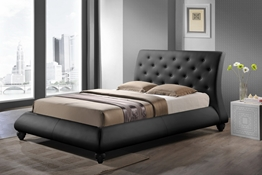 Baxton Studio Metropolitan Wood and Leather Contemporary Queen-Size Bed Affordable modern furniture in Chicago, Metropolitan Wood and Leather Contemporary Queen-Size Bed, Bedroom Furniture Chicago