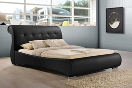 Baxton Studio Pergamena Black Leather Contemporary King-Size Bed Affordable modern furniture in Chicago,Pergamena Black Leather Contemporary King-Size Bed, Bedroom Furniture Chicago
