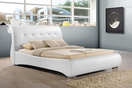 Baxton Studio Pergamena White Leather Contemporary King-Size Bed Affordable modern furniture in Chicago,Pergamena White Leather Contemporary King-Size Bed, Bedroom Furniture Chicago