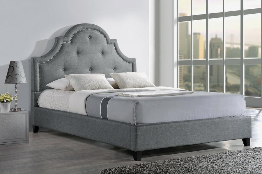 Baxton Studio Colchester Grey Linen Modern Platform Bed