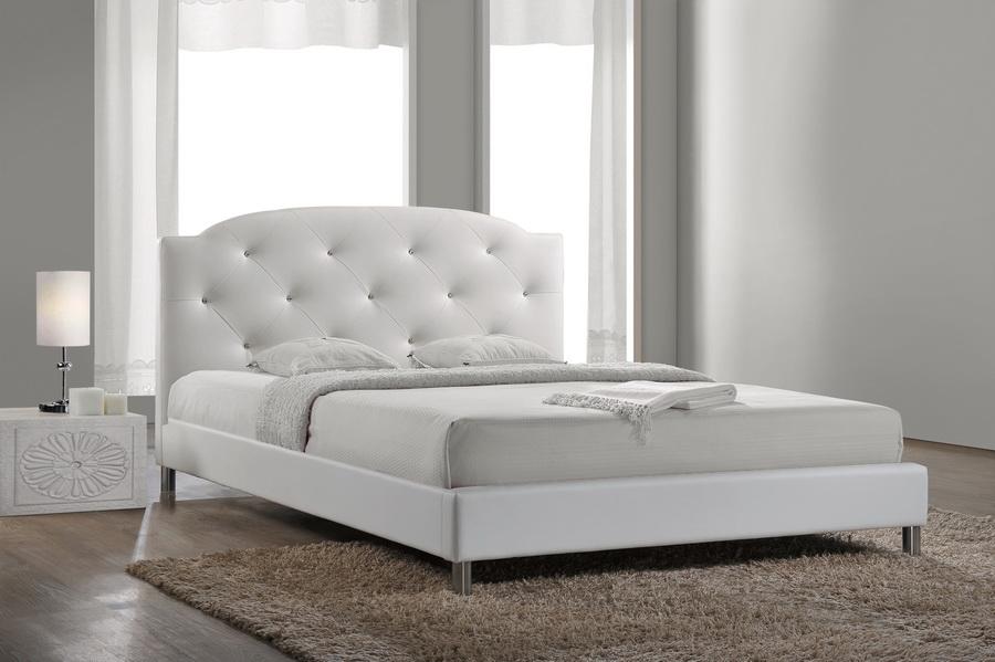 Baxton StudioCanterbury White Leather Contemporary Full