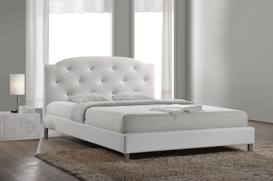 baxton studiocanterbury white leather contemporary full size bed affordable modern furniture. Black Bedroom Furniture Sets. Home Design Ideas