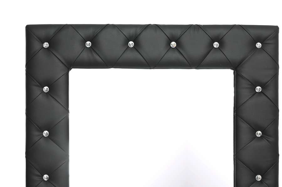 ... Baxton Studio Stella Crystal Tufted Black Modern Floor Mirror    BSOBBTM27 Black Mirror