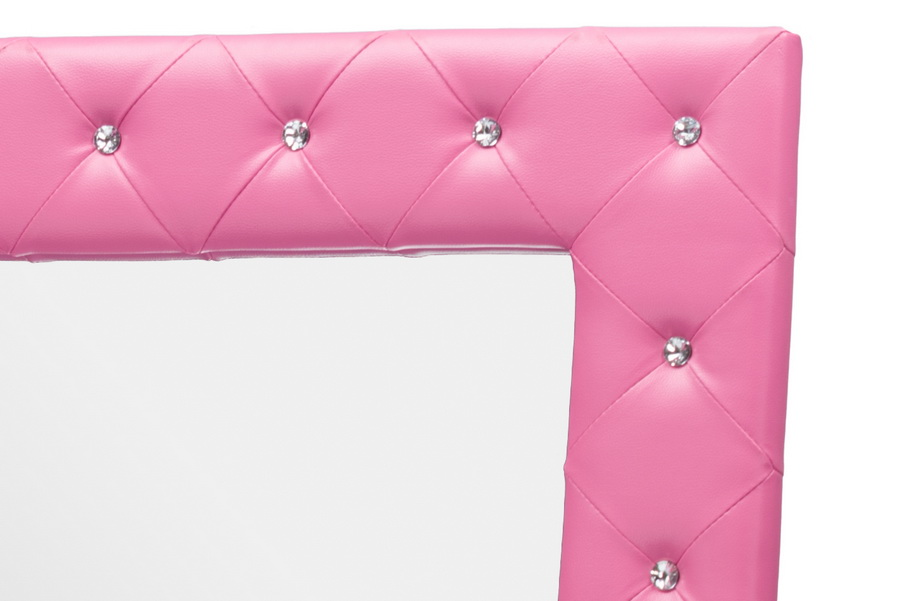 Baxton Studiostella Crystal Tufted Pink Leather Modern