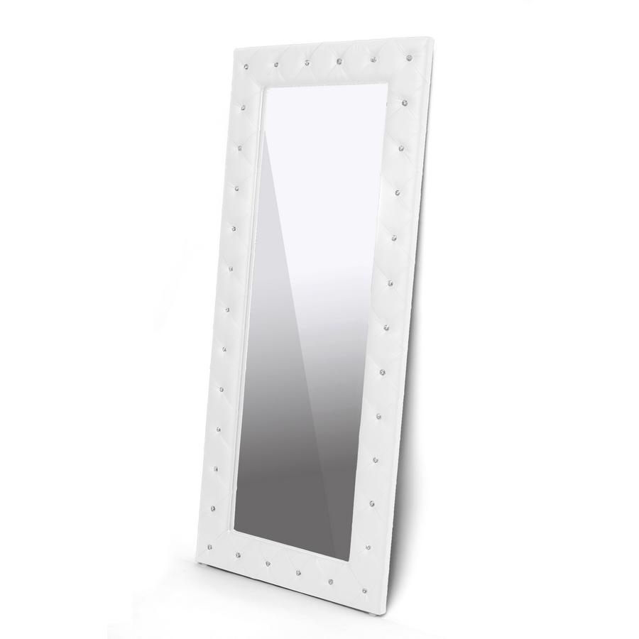 Baxton Studio Stella Crystal Tufted White Modern Floor Mirror    BSOBBTM27 White Mirror ...