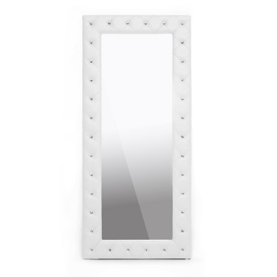 ... Baxton Studio Stella Crystal Tufted White Modern Floor Mirror    BSOBBTM27 White Mirror ...