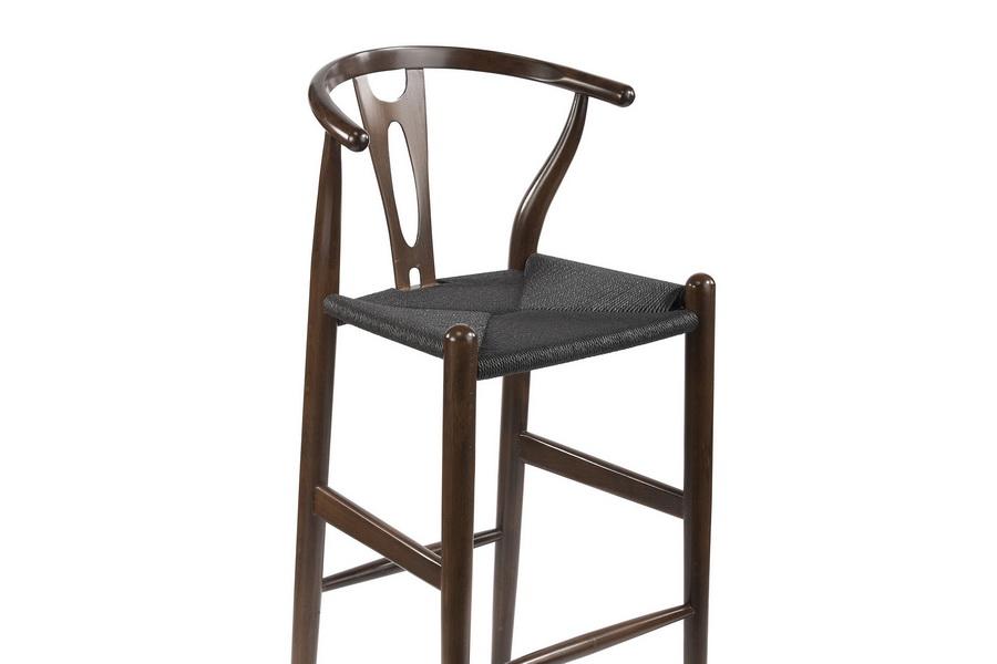 baxton studio midcentury modern wishbone stool dark brown wood y stool with black