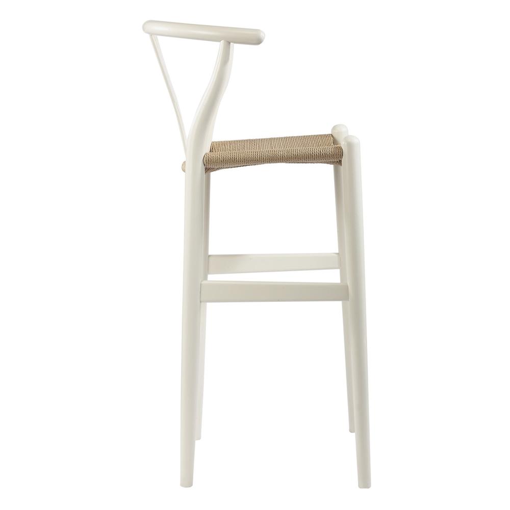 Baxton studio mid century modern wishbone stool white wood y stool bsobs