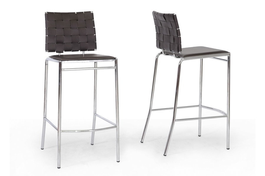 Baxton Studio Vittoria Brown Leather Modern Bar Stool (Set of 2) - BSOALC- ...  sc 1 st  Baxton Studio Outlet & Baxton Studio Vittoria Brown Leather Modern Bar Stool | Bar ... islam-shia.org