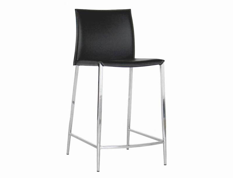 Gentil New York Black Leather Counter Height 24 Bar Stool