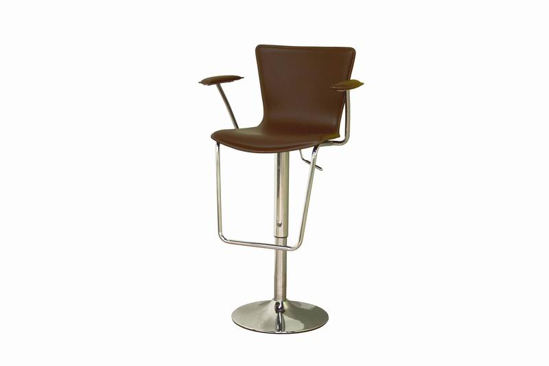 Metro brown leather adjustable swivel bar stool affordable modern