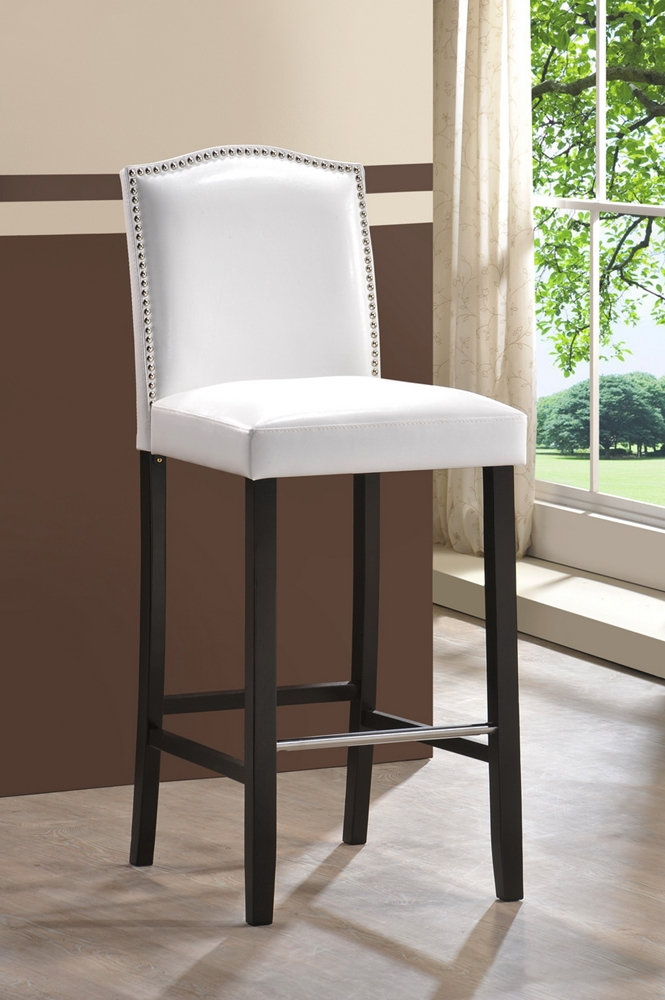 Baxton Studio Libra White Modern Bar Stool With Nail Head Trim Affordable Modern Furniture In