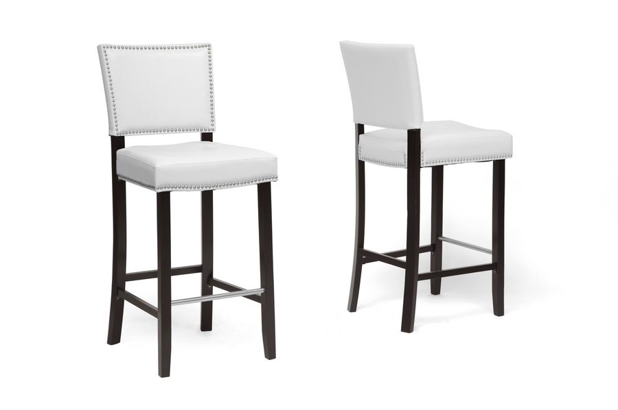 Baxton Studio Aries White Modern Bar Stool With Nail Head