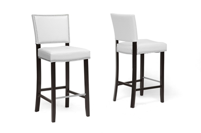 Baxton Studio Aries White Modern Bar Stool With Nail Head Trim Affordable Modern Furniture In