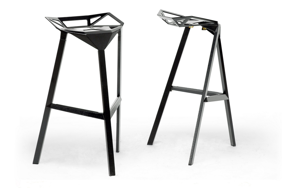 Baxton Studio Kaysa Black Aluminum Modern Bar Stool Bar Furniture Affordable Modern
