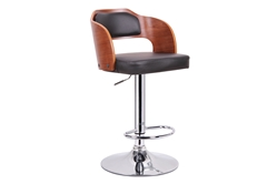 Baxton Studio Sitka Walnut and Black Modern Bar Stool affordable modern furniture in Chicago, Baxton Studio Sitka Walnut and Black Modern Bar Stool,  Bar Furniture  Chicago