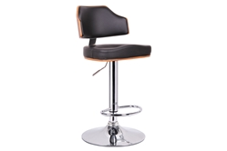 Baxton Studio Cabell Walnut and Black Modern Bar Stool affordable modern furniture in Chicago, Baxton Studio Cabell Walnut and Black Modern Bar Stool,  Bar Furniture  Chicago