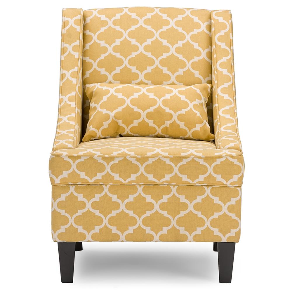 Contemporary fabric chairs - Baxton Studio Lotus Contemporary Fabric Armchair Yellow Patterned Fabric