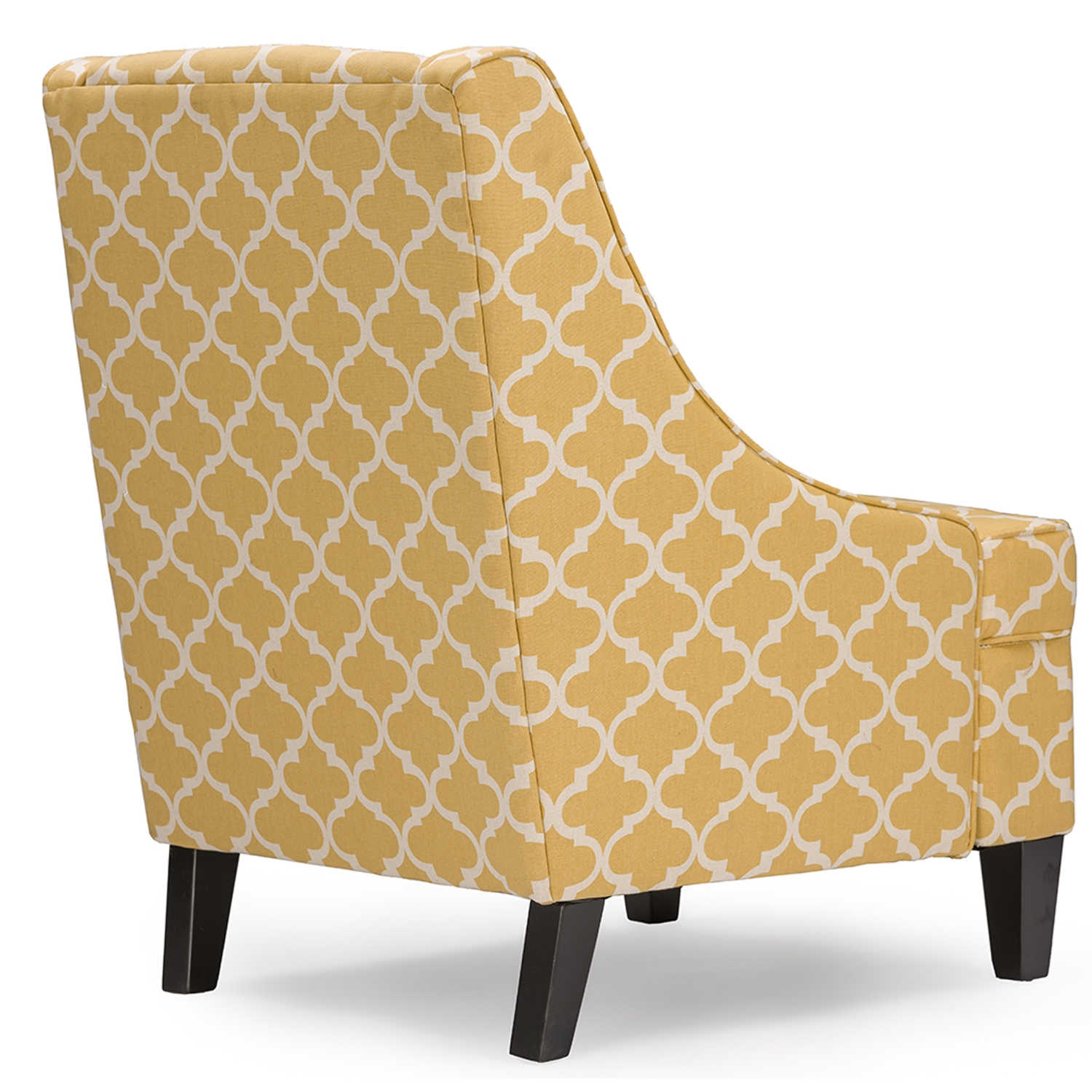 ... Baxton Studio Lotus Contemporary Fabric Armchair   Yellow Patterned  Fabric   BSODO 6281 Yellow ...