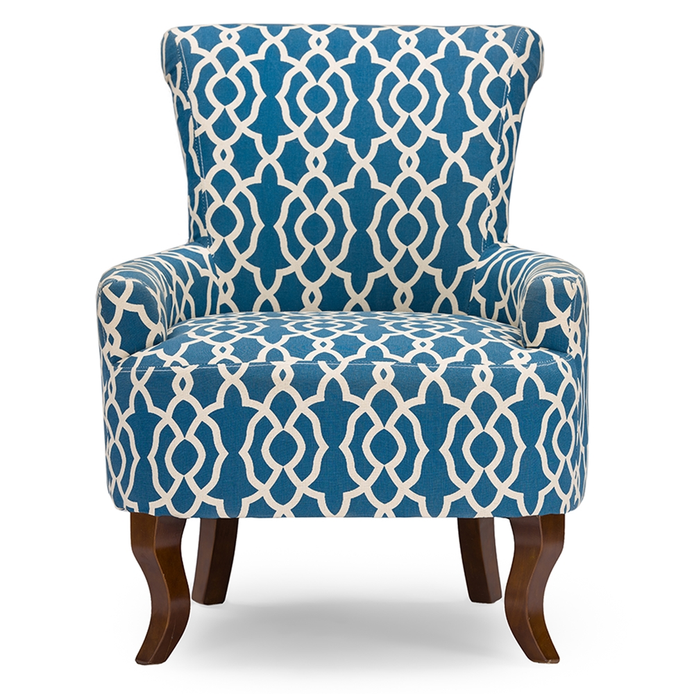 Contemporary fabric chairs - Baxton Studio Dixie Contemporary Fabric Armchair Navy Blue Patterned Fabric