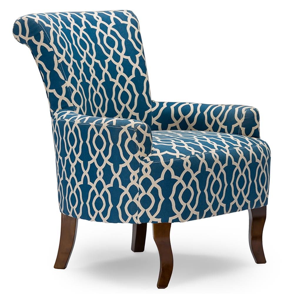 Contemporary fabric chairs -  Baxton Studio Dixie Contemporary Fabric Armchair Navy Blue Patterned Fabric Bsodo 6287