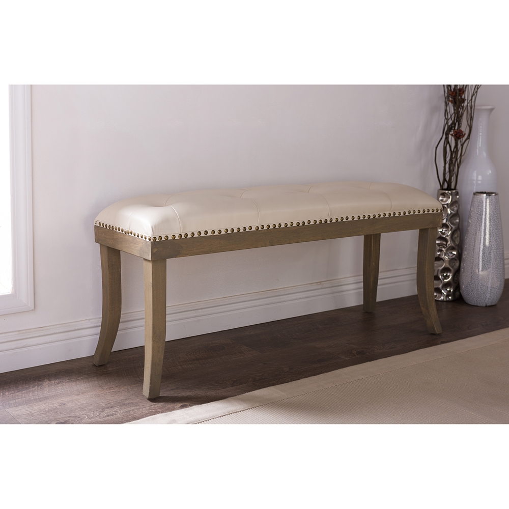 Baxton Studio Damien Cream Faux Leather Bench In Natural Finishing