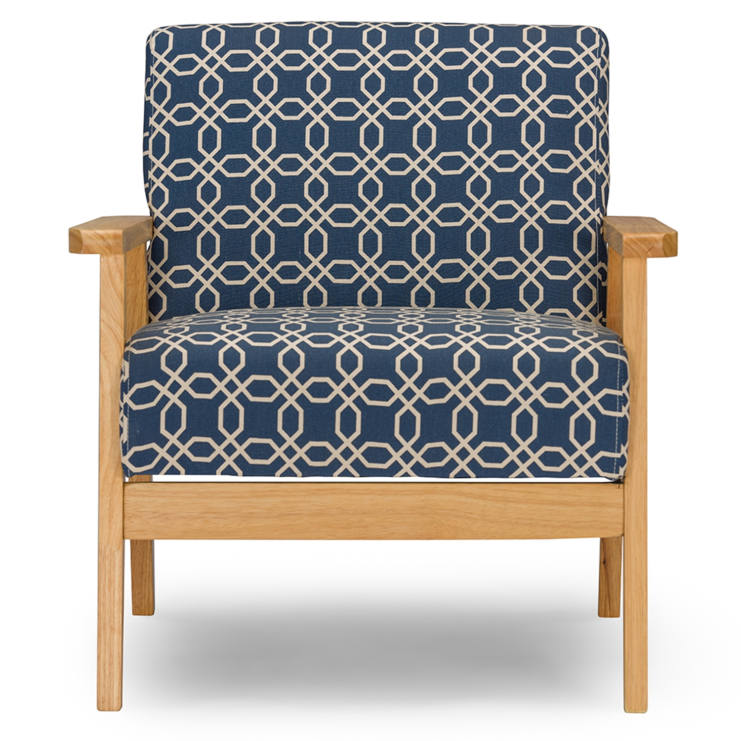 Baxton Studio Francis Retro Mid Century Navy Blue Patterned Fabric Armchair