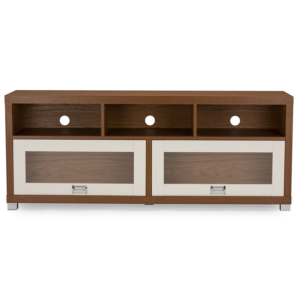 tv stands  living room furniture  affordable modern furniture  - baxton studio swindon modern twotone walnut and white tv stand with glassdoors affordable