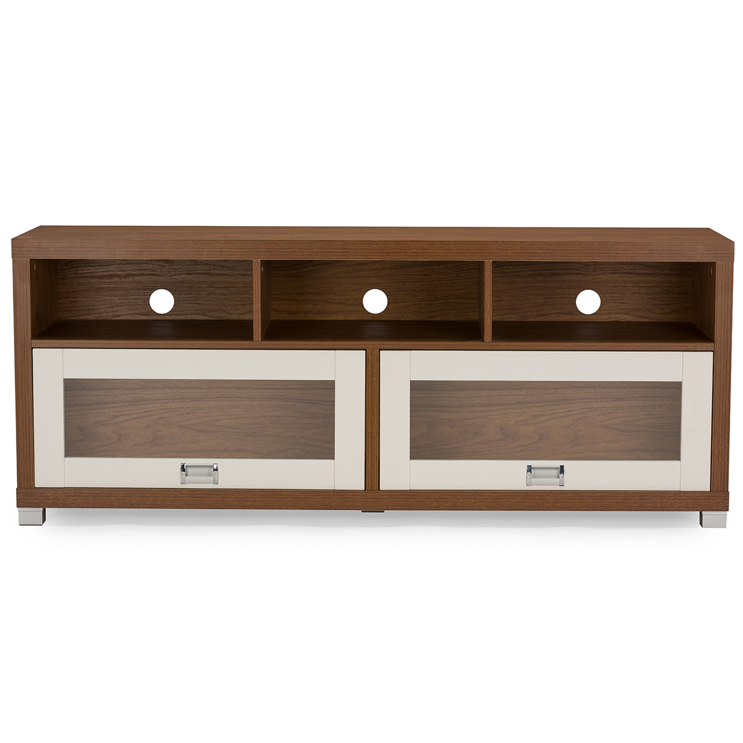 Baxton Studio Swindon Modern Two Tone Walnut And White TV Stand With Glass  Doors