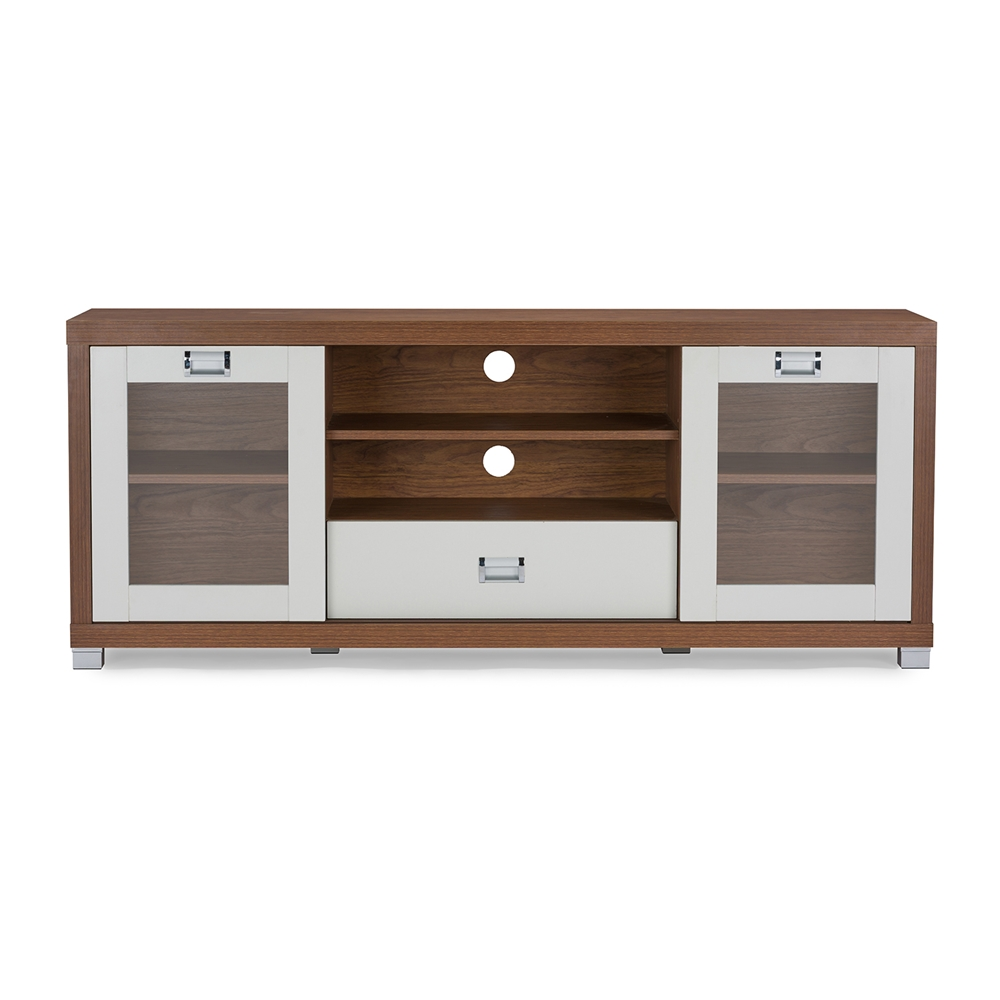 Baxton Studio Matlock Modern Two Tone Walnut And White TV Stand With Glass Doors Affordable