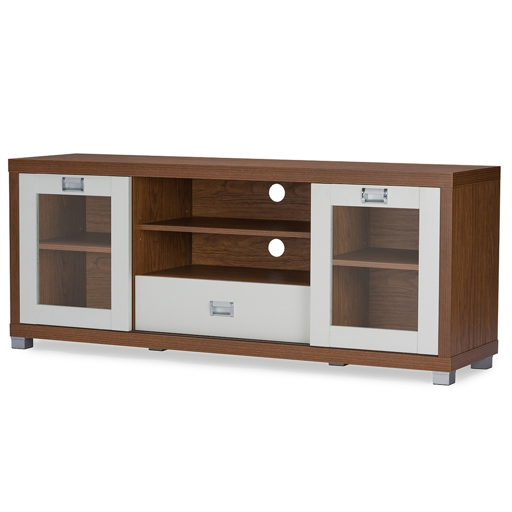 baxton studio matlock modern twotone walnut and white tv stand  -  baxton studio matlock modern twotone walnut and white tv stand withglass doors