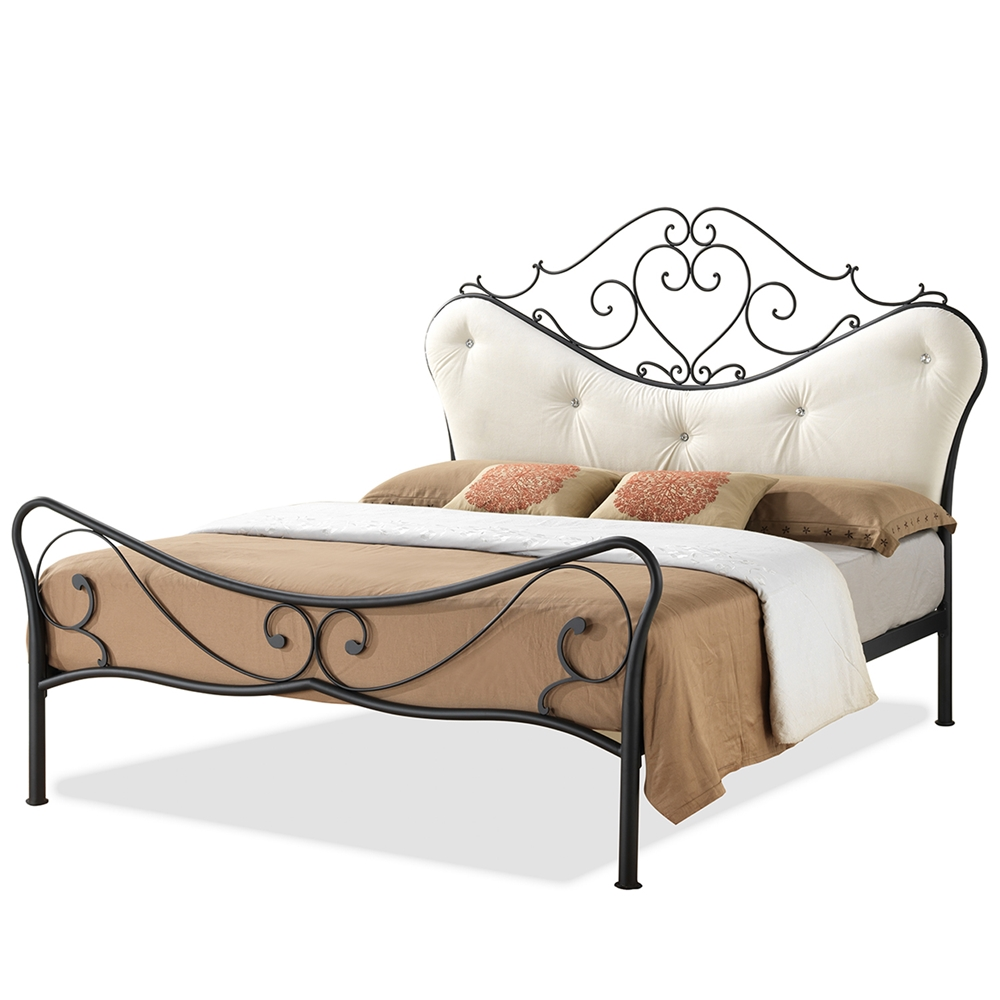 Baxton Studio Alanna Full Size Shabby Chic Metal Platform Bed With Beige  Tufted Headboard - Baxton Studio Alanna Full Size Shabby Chic Metal Platform Bed With