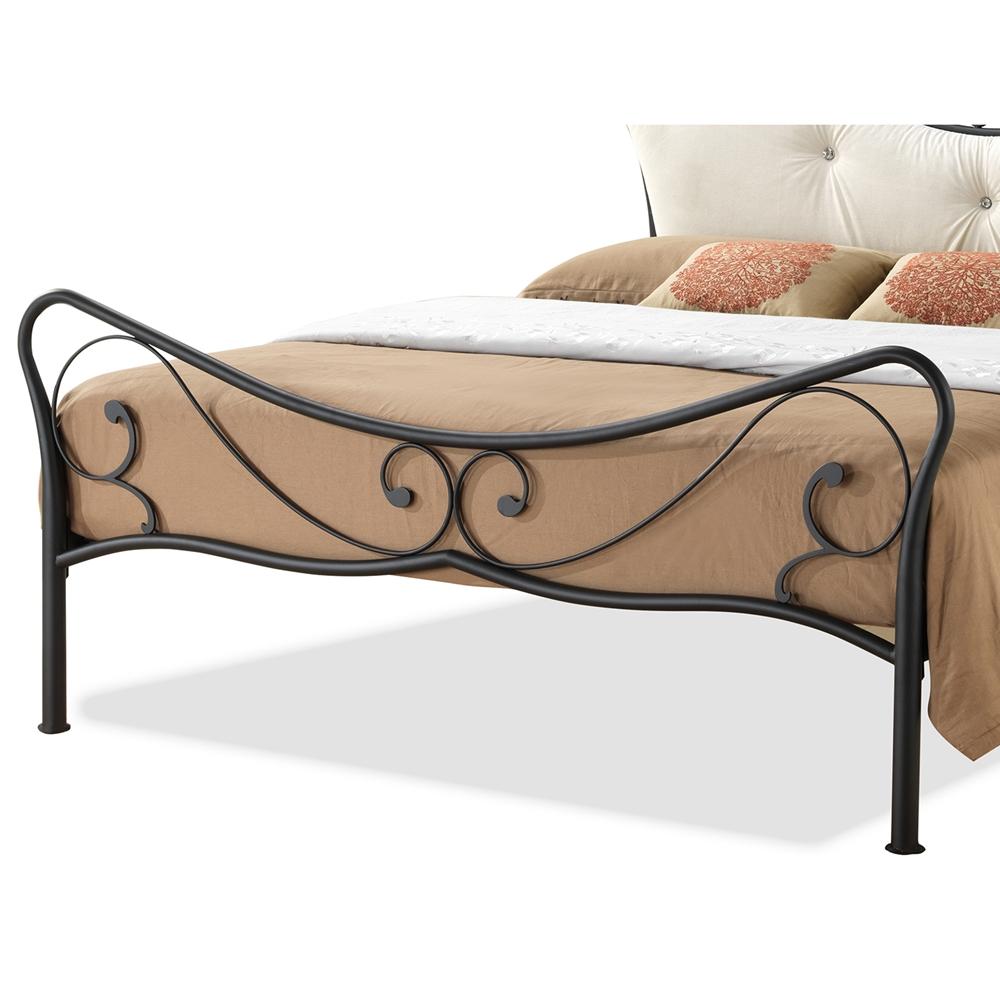 baxton studio alanna queen size shabby chic metal platform bed with beige tufted headboard. Black Bedroom Furniture Sets. Home Design Ideas