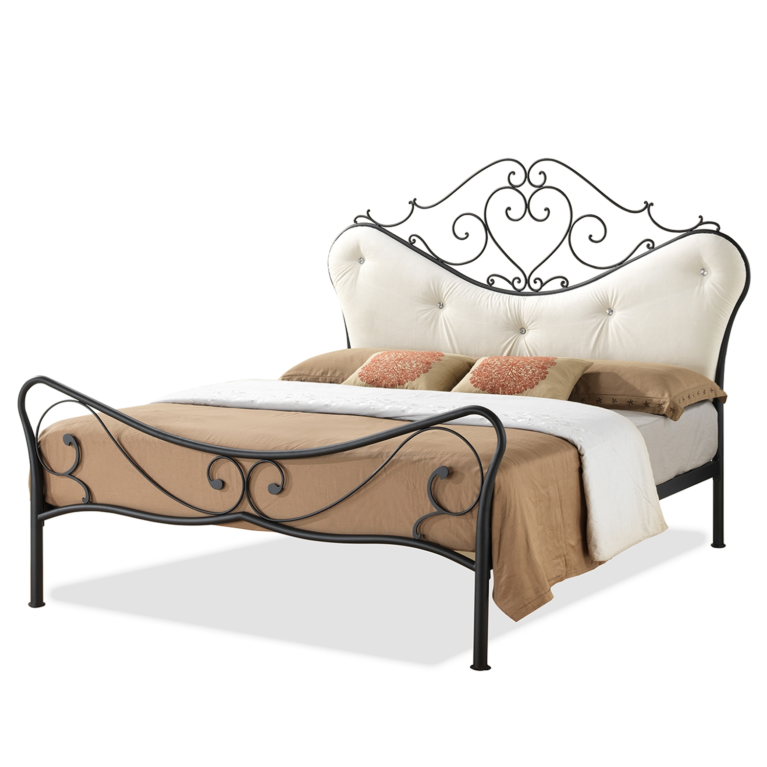 headboard bed frame metal eflyg beds painting twin gold