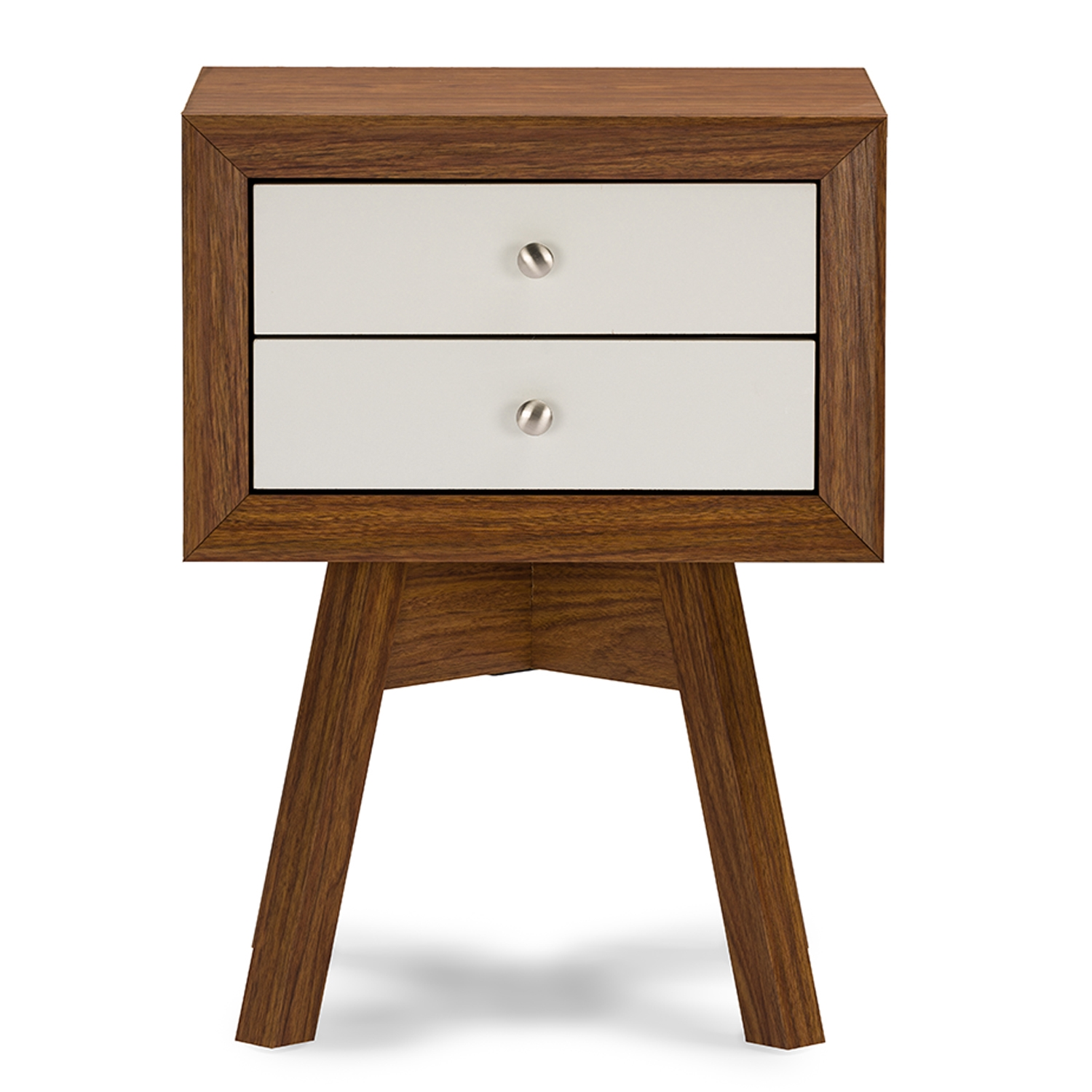 Marvelous Baxton Studio Warwick Two Tone Walnut And White Modern Accent Table And  Nightstand