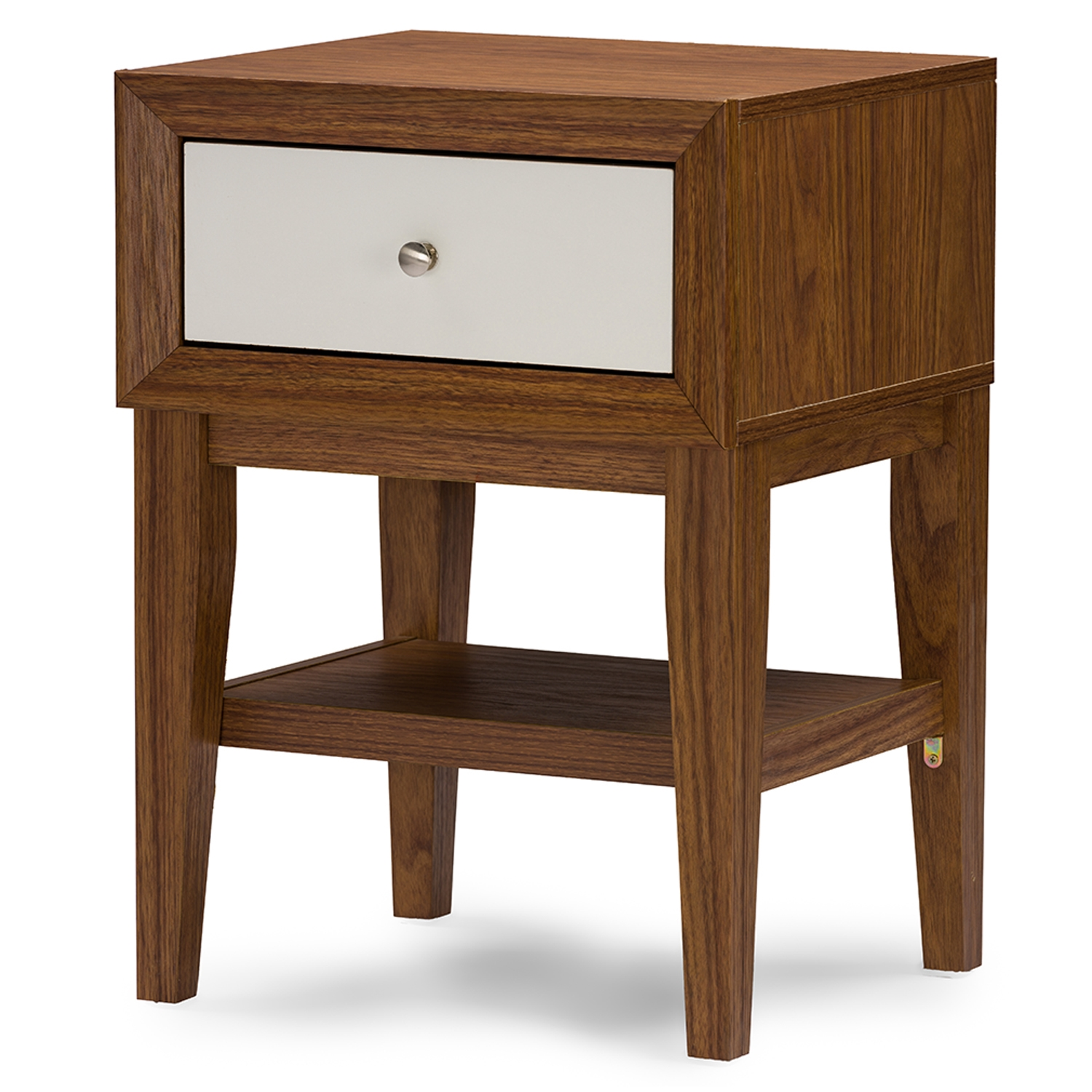 Baxton Studio Gaston Two Tone Walnut And White Modern Accent Table And  Nightstand